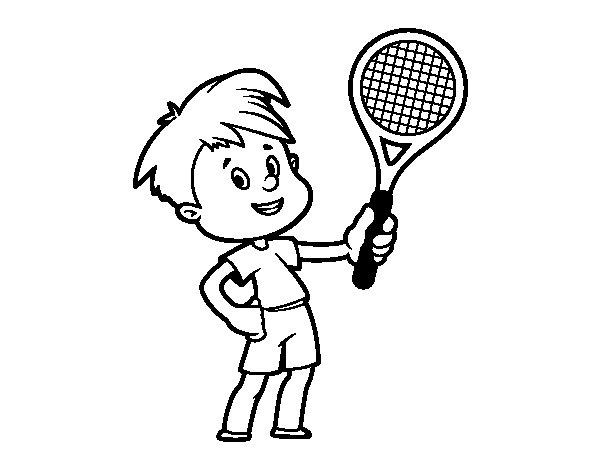 Dibujo de Niño con raqueta para Colorear - Dibujos.net