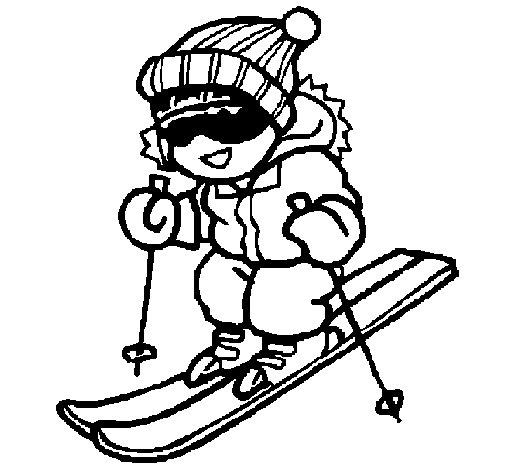 Dibujo de Niño esquiando para Colorear