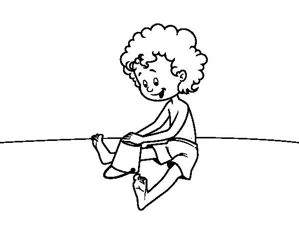Dibujo de Niño jugando en la arena para Colorear