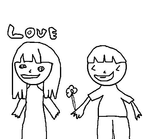 Dibujo de Niños enamorados para Colorear