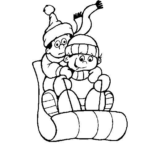Dibujo de Niños tirandose por la nieve para Colorear