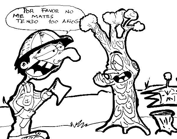 Dibujo de NO a la tala de árboles para Colorear