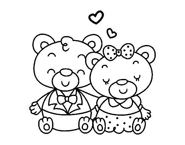 Dibujo de Ositos enamorados para Colorear