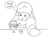 Dibujo de Ovejita coloreando Huevos de Pascua para colorear