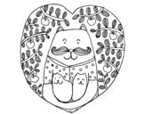 Dibujo de Padre gato e hijos para colorear