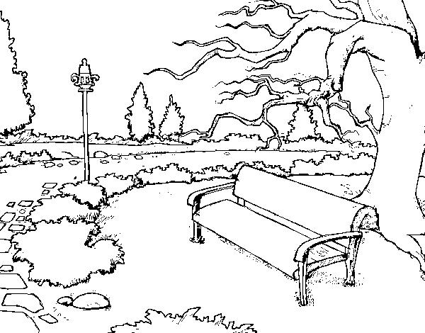 Dibujos Para Colorear De Un Paisaje: Dibujo De Paisaje De Parque Para Colorear