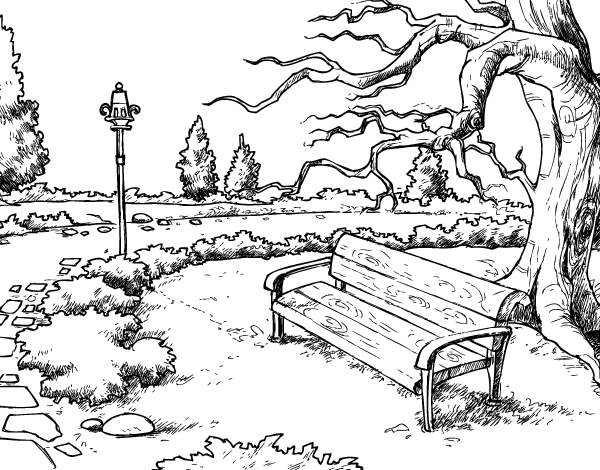 Dibujo de Paisaje de parque para Colorear - Dibujos.net