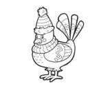 Dibujo de Pajarito abrigado para colorear