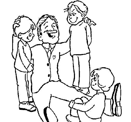 Dibujo de Papa con sus 3 hijos para Colorear