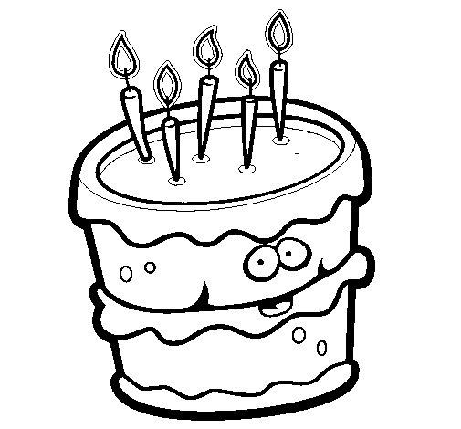 Dibujo de Pastel de cumpleaños 2 para Colorear
