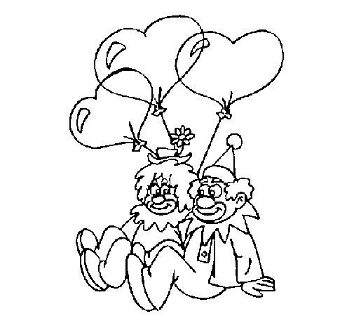 Dibujo de Payasos enamorados para Colorear