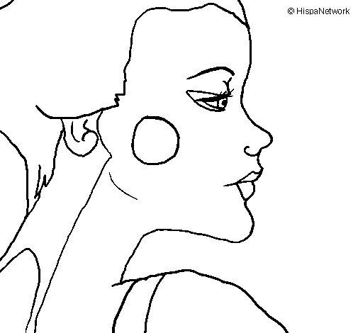 Dibujo de Perfil geisha para Colorear
