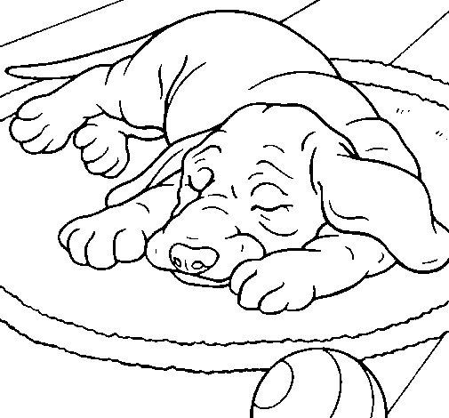 Dibujo de Perro durmiendo para Colorear