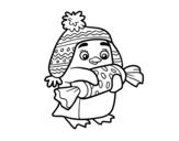 Dibujo de Pingüino con caramelo para colorear