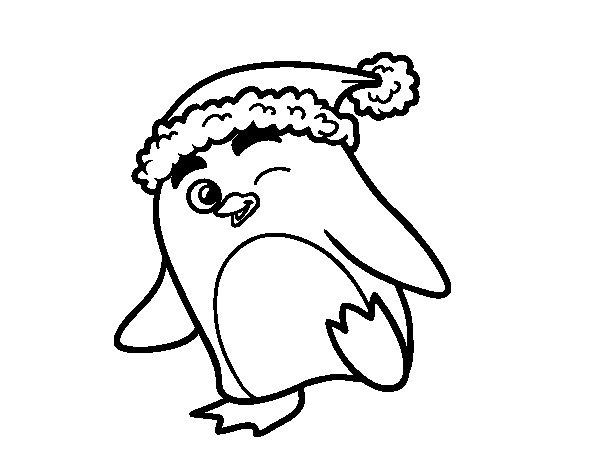 Dibujos Para Colorear On Line De Navidad: Dibujo De Pingüino Con Gorro De Navidad Para Colorear