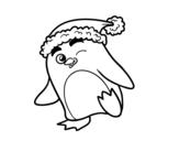 Dibujo de Pingüino con gorro de Navidad para colorear