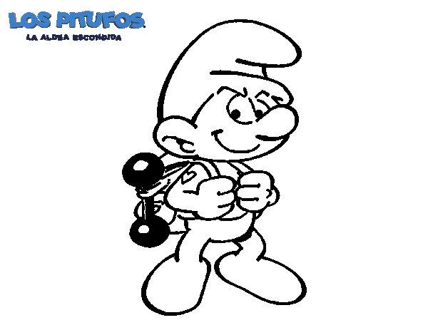 Dibujo de Pitufo fortachón para Colorear