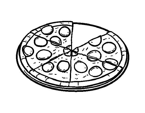 Dibujo de Pizza italiana para Colorear