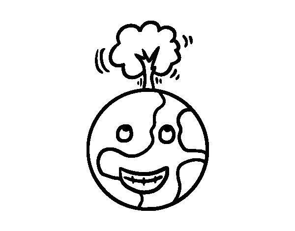 Dibujo de Planeta vegetal para Colorear