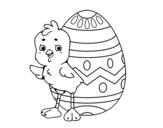 Dibujo de Pollito simpático con huevo de Pascua para colorear