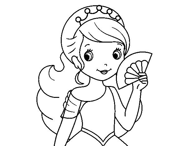 Dibujo de Princesa y abanico para Colorear - Dibujos.net