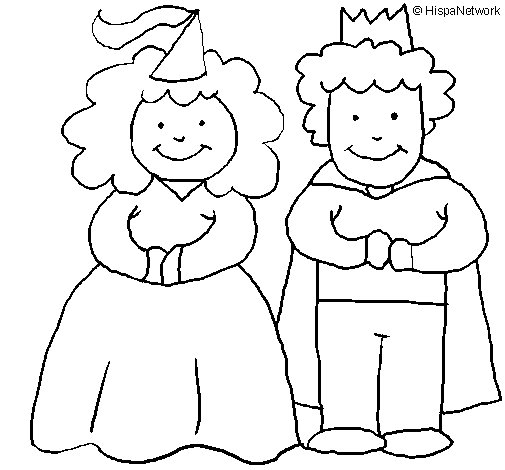 Dibujo de Princesa y rey para Colorear