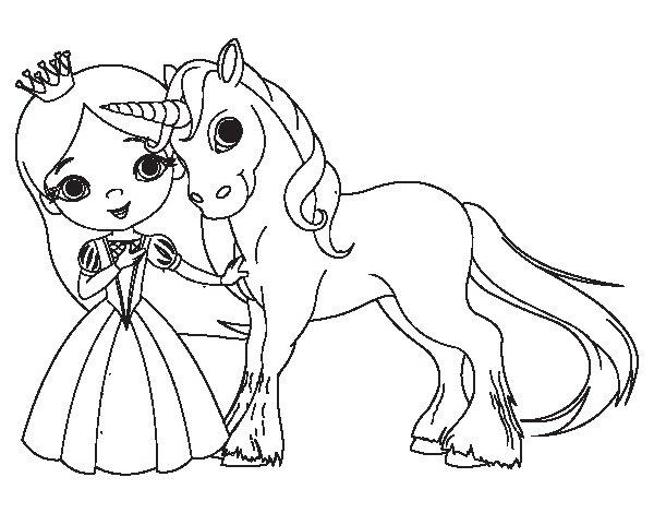 Dibujo de Princesa y unicornio para Colorear