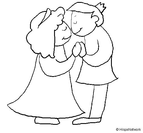 Dibujo de Prncipes besndose para Colorear  Dibujosnet