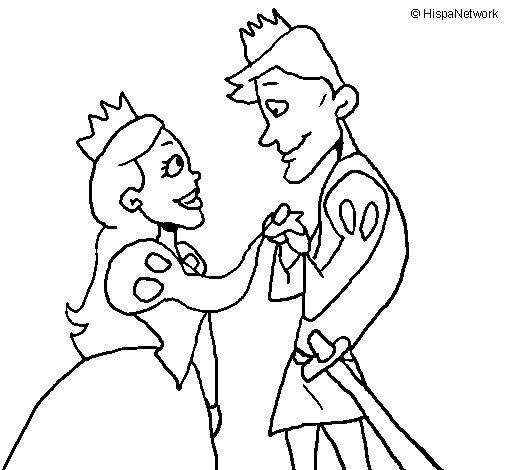 Dibujo de Príncipes mirándose para Colorear