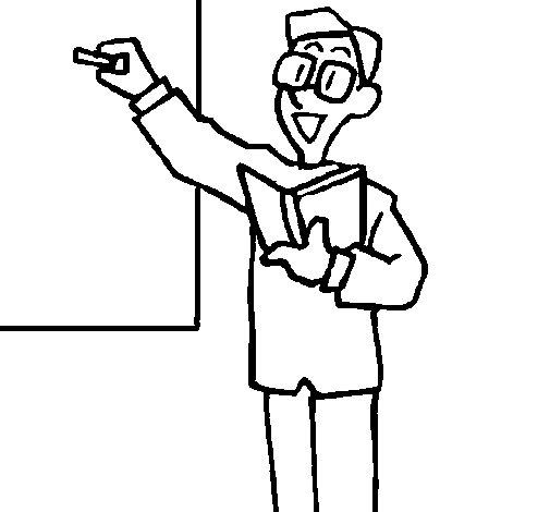 Dibujo de Profesor en la pizarra para Colorear