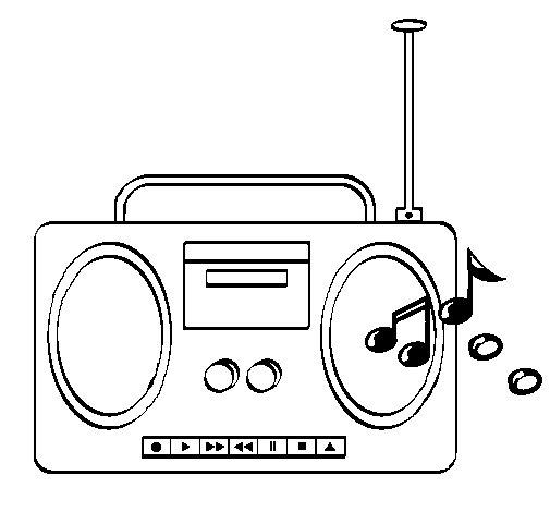 Dibujo de Radio cassette 2 para Colorear
