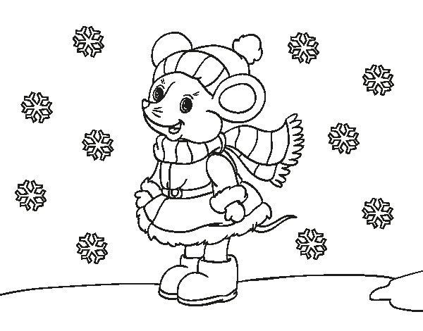 Dibujo de Ratita abrigada en Navidad para Colorear
