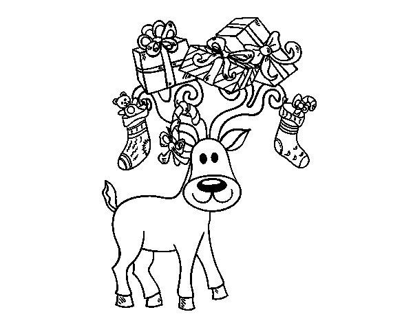 Dibujo de Reno con regalos de Navidad para Colorear