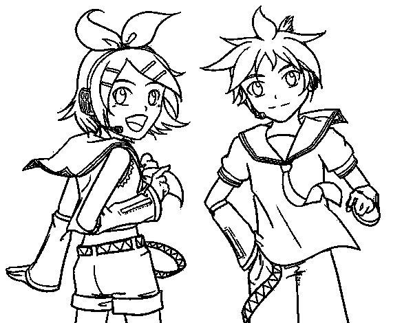 Dibujo de Rin y Len Kagamine Vocaloid para Colorear