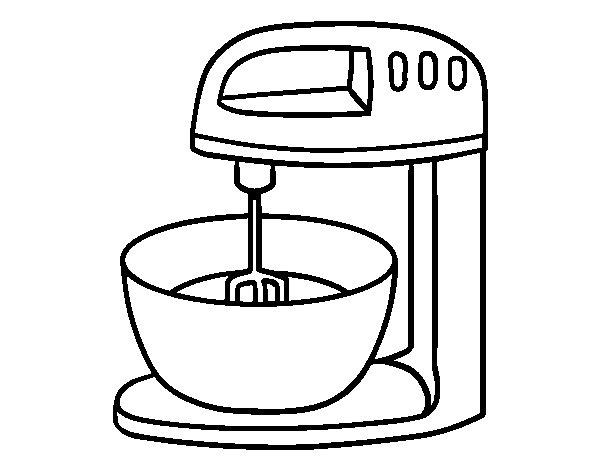 Dibujo de robot para reposter a para colorear - Utensilios de cocina para pintar ...