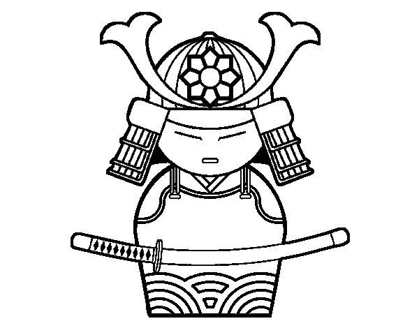Dibujo de Samurái chino para Colorear