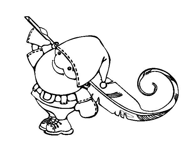 Dibujo de Santa Claus con una pluma para Colorear