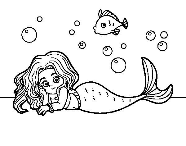 Dibujo de Sirena Bonita para Colorear