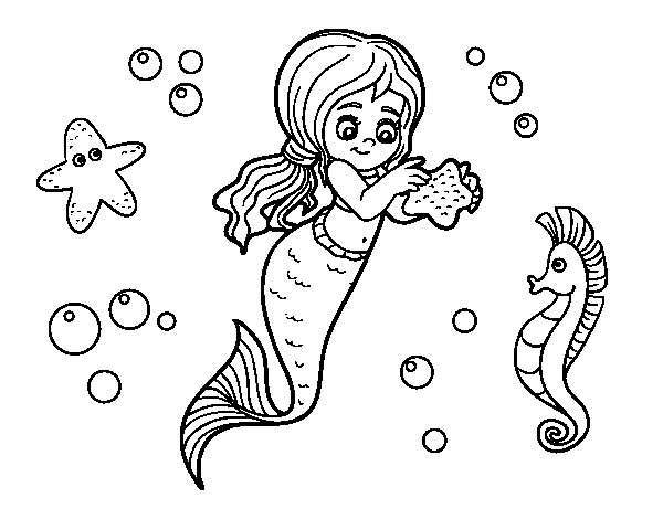 Dibujo de Sirena preciosa para Colorear