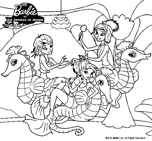 Dibujo de Sirenas y caballitos de mar para Colorear
