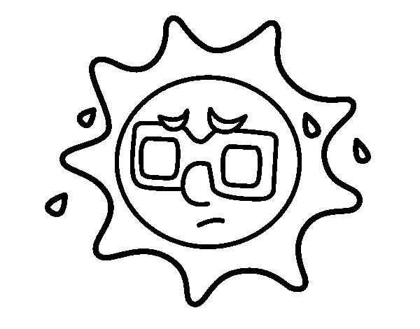 Dibujos De Sol Para Colorear E Imprimir: Dibujo De Sol Con Sudor Para Colorear