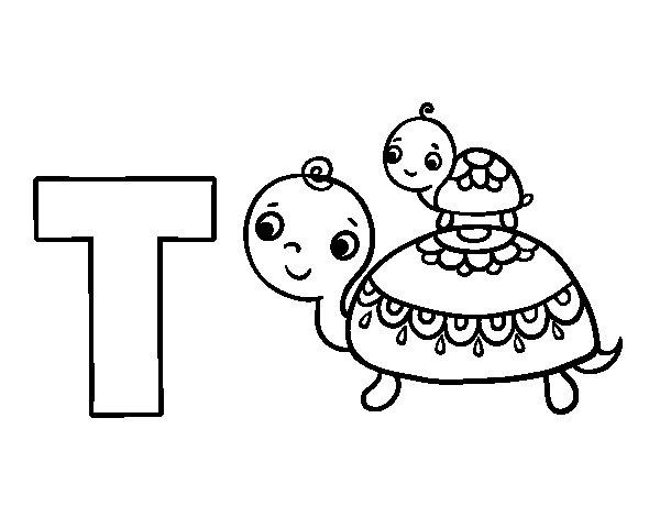 Dibujo de T de Tortuga para Colorear  Dibujosnet