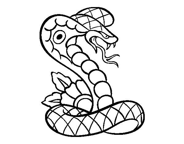 Dibujo de Tatuaje de cobra para Colorear