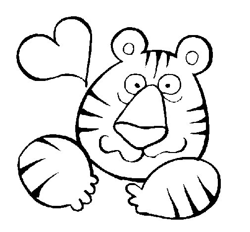 Dibujo de Tigre loco de amor para Colorear