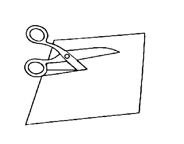 Dibujo de Tijeras cortando para Colorear