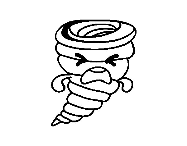 Dibujo de Tornado Kawaii para Colorear