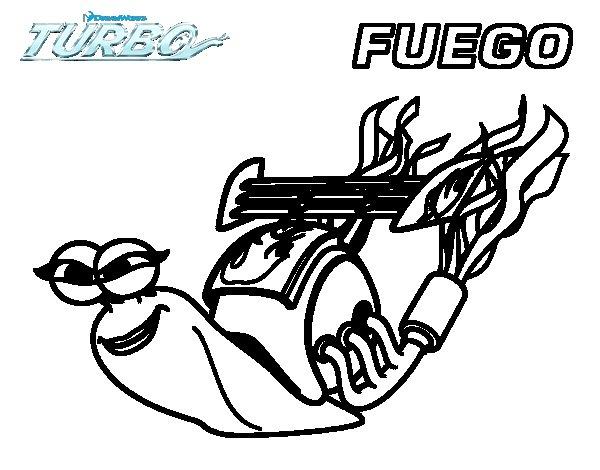 Dibujo de Turbo -  Fuego para Colorear