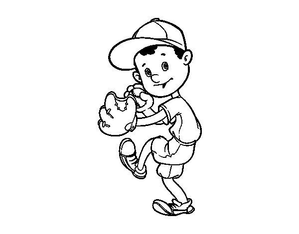 Dibujo de Un lanzador de béisbol para Colorear