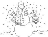 Dibujo de Un muñeco de nieve navideño para colorear