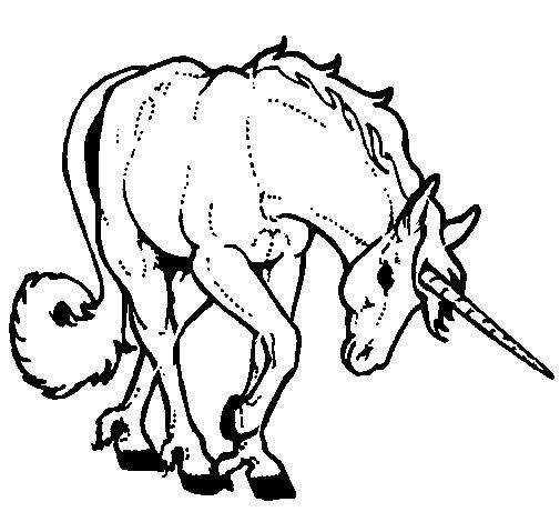 Dibujo de Unicornio bravo para Colorear